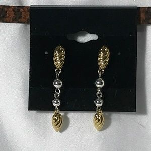 GOLD AND SILVER TONE DANGLE EARRINGS